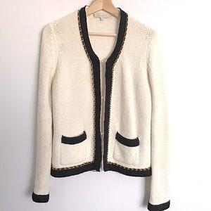 SANDRO Chanel-Style Contract Trim Cardigan Jacket